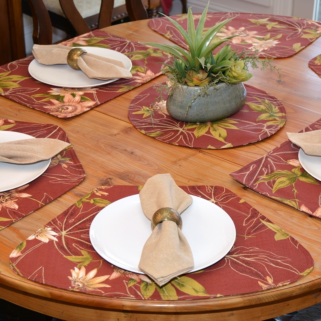 Rust Tropical Outdoor Fabric Table Linen Collection