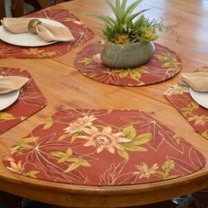 Sweet Pea Linens - Rust Tropical Outdoor Fabric Wedge-Shaped Placemats - Set of Four plus Center Round-Charger (SKU#: RS5-1006-A10) - Alternate Table Setting