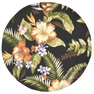 Sweet Pea Linens - Black Tropical Outdoor Fabric Charger-Center Round Placemat (SKU#: R-1015-A11) - Product Image
