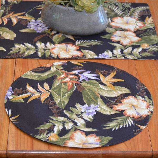 Sweet Pea Linens - Black Tropical Outdoor Fabric Charger-Center Round Placemat (SKU#: R-1015-A11) - Table Setting