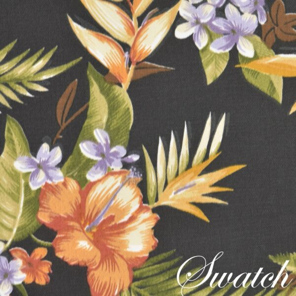 Sweet Pea Linens - Black Tropical Outdoor Fabric Charger-Center Round Placemat (SKU#: R-1015-A11) - Swatch
