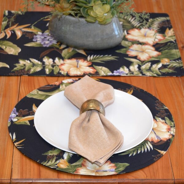 Sweet Pea Linens - Black Tropical Outdoor Fabric Charger-Center Round Placemat (SKU#: R-1015-A11) - Alternate Table Setting