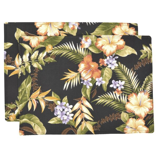 Sweet Pea Linens - Black Tropical Outdoor Fabric Rectangle Placemats - Set of Two (SKU#: RS2-1002-A11) - Product Image