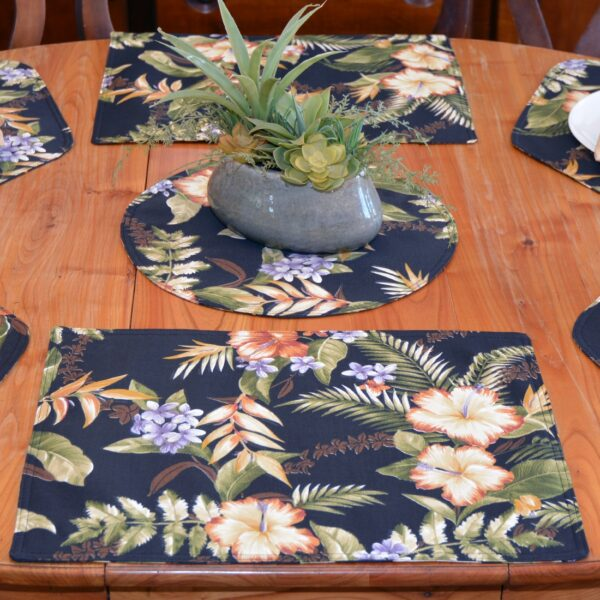 Sweet Pea Linens - Black Tropical Outdoor Fabric Rectangle Placemats - Set of Two (SKU#: RS2-1002-A11) - Table Setting