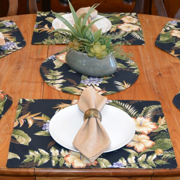 Sweet Pea Linens - Black Tropical Outdoor Fabric Rectangle Placemats - Set of Two (SKU#: RS2-1002-A11) - Alternate Table Setting