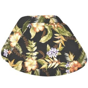 Sweet Pea Linens - Black Tropical Outdoor Fabric Wedge-Shaped Placemats - Set of Two (SKU#: RS2-1006-A11) - Product Image