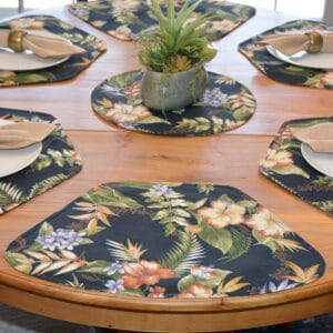 Sweet Pea Linens - Black Tropical Outdoor Fabric Wedge-Shaped Placemats - Set of Two (SKU#: RS2-1006-A11) - Table Setting