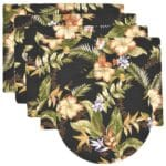 Sweet Pea Linens - Black Tropical Outdoor Fabric Rectangle Placemats - Set of Four plus Center Round-Charger (SKU#: RS5-1002-A11) - Product Image