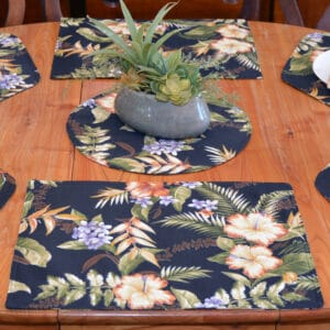 Sweet Pea Linens - Black Tropical Outdoor Fabric Rectangle Placemats - Set of Four plus Center Round-Charger (SKU#: RS5-1002-A11) - Table Setting
