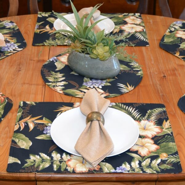 Sweet Pea Linens - Black Tropical Outdoor Fabric Rectangle Placemats - Set of Four plus Center Round-Charger (SKU#: RS5-1002-A11) - Alternate Table Setting