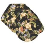 Sweet Pea Linens - Black Tropical Outdoor Fabric Wedge-Shaped Placemats - Set of Four plus Center Round-Charger (SKU#: RS5-1006-A11) - Product Image