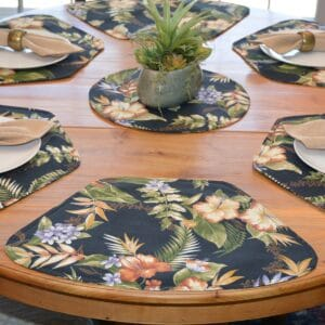 Sweet Pea Linens - Black Tropical Outdoor Fabric Wedge-Shaped Placemats - Set of Four plus Center Round-Charger (SKU#: RS5-1006-A11) - Table Setting