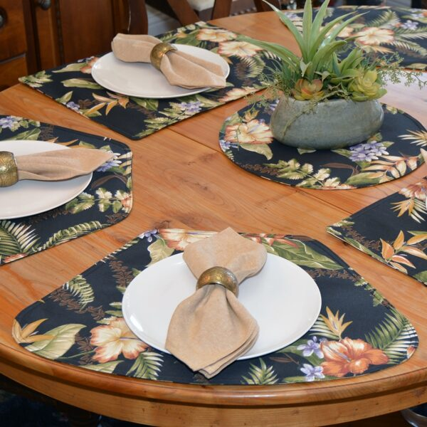 Sweet Pea Linens - Black Tropical Outdoor Fabric Wedge-Shaped Placemats - Set of Four plus Center Round-Charger (SKU#: RS5-1006-A11) - Alternate Table Setting