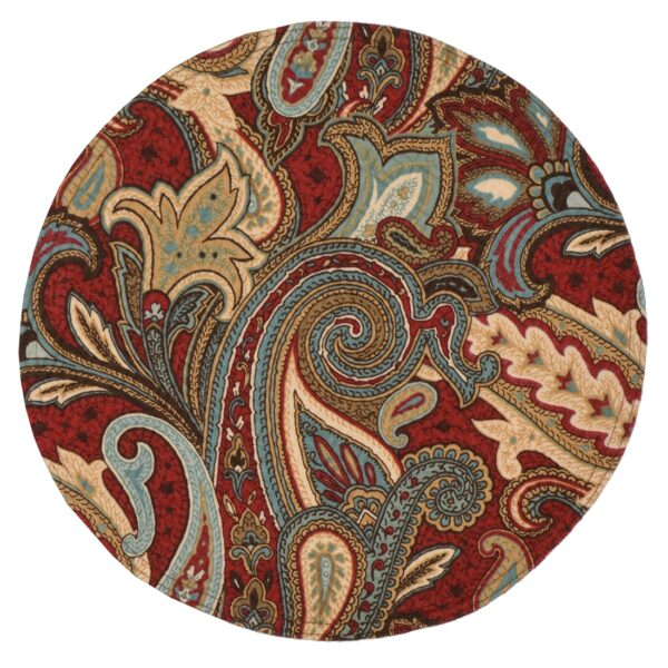Sweet Pea Linens - Garnet Paisley Matelasse Charger-Center Round Placemat (SKU#: R-1015-A12) - Product Image