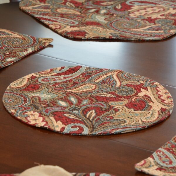 Sweet Pea Linens - Garnet Paisley Matelasse Charger-Center Round Placemat (SKU#: R-1015-A12) - Table Setting
