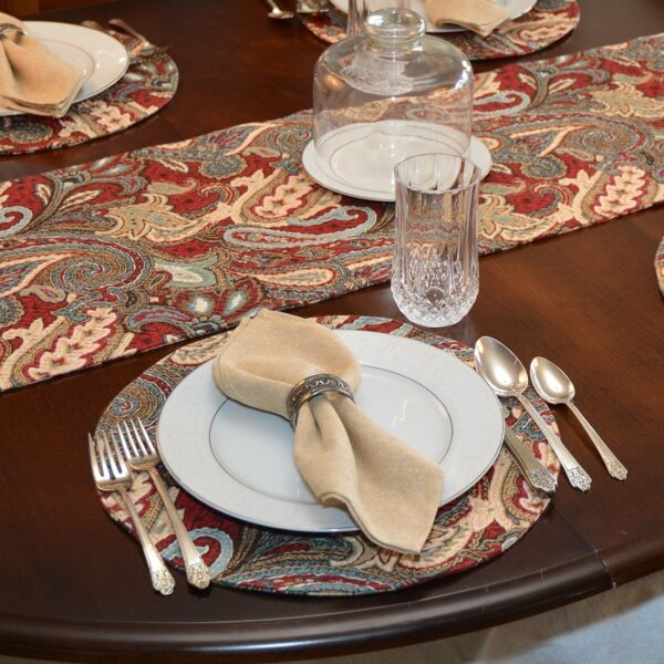 Sweet Pea Linens - Garnet Paisley Matelasse Charger-Center Round Placemat (SKU#: R-1015-A12) - Alternate Table Setting