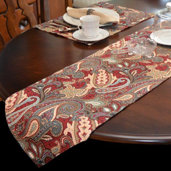 Sweet Pea Linens - Garnet Paisley Matelasse 72 inch Table Runner (SKU#: R-1024-A12) - Table Setting