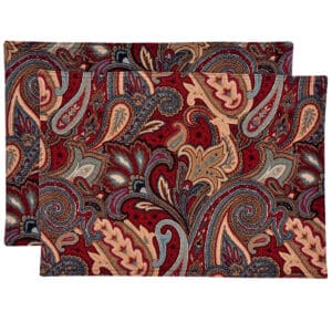 Sweet Pea Linens - Garnet Paisley Matelasse Rectangle Placemats - Set of Two (SKU#: RS2-1002-A12) - Product Image