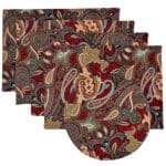 Sweet Pea Linens - Garnet Paisley Matelasse Rectangle Placemats - Set of Four plus Center Round-Charger (SKU#: RS5-1002-A12) - Product Image
