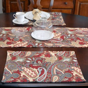 Sweet Pea Linens - Garnet Paisley Matelasse Rectangle Placemats - Set of Four plus Center Round-Charger (SKU#: RS5-1002-A12) - Table Setting