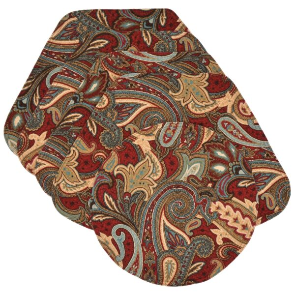 Sweet Pea Linens - Garnet Paisley Matelasse Wedge-Shaped Placemats - Set of Four plus Center Round-Charger (SKU#: RS5-1006-A12) - Product Image