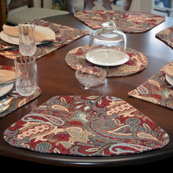 Sweet Pea Linens - Garnet Paisley Matelasse Wedge-Shaped Placemats - Set of Four plus Center Round-Charger (SKU#: RS5-1006-A12) - Table Setting