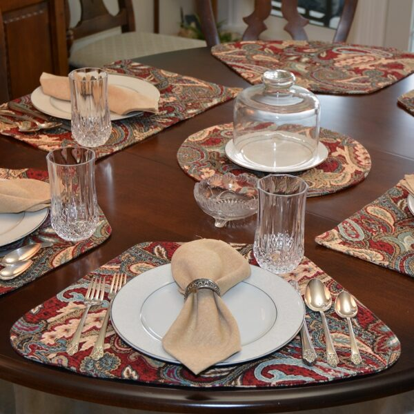 Sweet Pea Linens - Garnet Paisley Matelasse Wedge-Shaped Placemats - Set of Four plus Center Round-Charger (SKU#: RS5-1006-A12) - Alternate Table Setting
