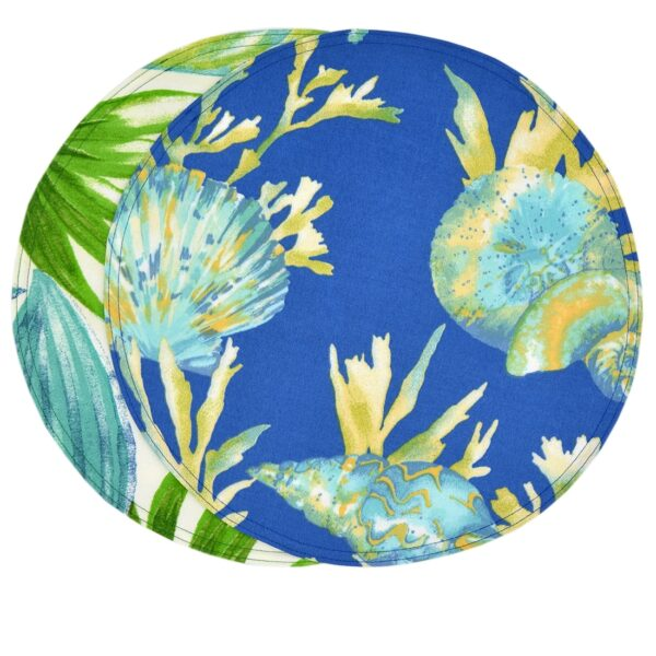 Sweet Pea Linens - Blue Seashell & Tropical Leaf Outdoor Fabric 15 inch Charger-Round Placemat (SKU#: R-1017-A13) - Product Image