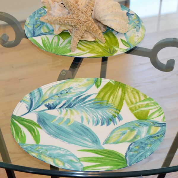 Sweet Pea Linens - Blue Seashell & Tropical Leaf Outdoor Fabric 15 inch Charger-Round Placemat (SKU#: R-1017-A13) - Table Setting