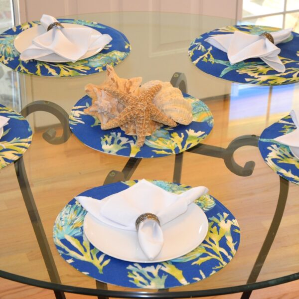 Sweet Pea Linens - Blue Seashell & Tropical Leaf Outdoor Fabric 15 inch Charger-Round Placemat (SKU#: R-1017-A13) - Alternate Table Setting