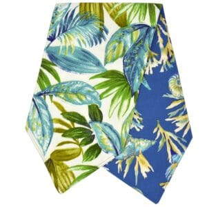 Sweet Pea Linens - Blue Seashell & Tropical Leaf Outdoor Fabric 54 inch Table Runner (SKU#: R-1020-A13) - Product Image