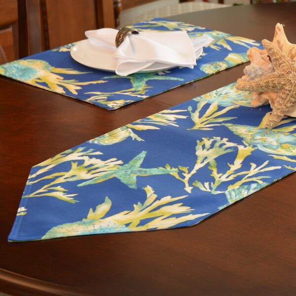 Sweet Pea Linens - Blue Seashell & Tropical Leaf Outdoor Fabric 54 inch Table Runner (SKU#: R-1020-A13) - Table Setting