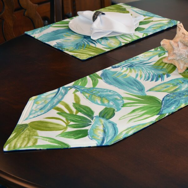 Sweet Pea Linens - Blue Seashell & Tropical Leaf Outdoor Fabric 54 inch Table Runner (SKU#: R-1020-A13) - Alternate Table Setting