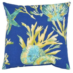 Sweet Pea Linens - Blue Seashell Outdoor Fabric 15 inch Accent Pillow (SKU#: R-1071-A13) - Product Image