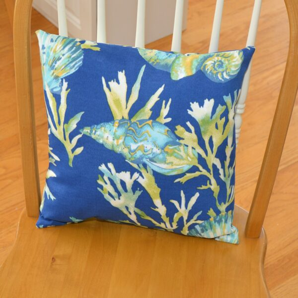 Sweet Pea Linens - Blue Seashell Outdoor Fabric 15 inch Accent Pillow (SKU#: R-1071-A13) - Table Setting