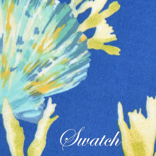 Sweet Pea Linens - Blue Seashell Outdoor Fabric 15 inch Accent Pillow (SKU#: R-1071-A13) - Swatch