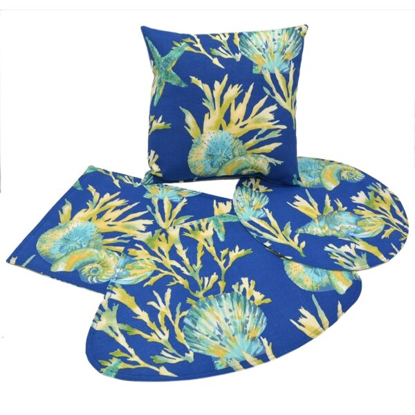 Sweet Pea Linens - Blue Seashell Outdoor Fabric 15 inch Accent Pillow (SKU#: R-1071-A13) - Alternate Table Setting