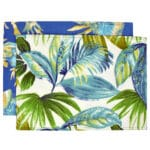 Sweet Pea Linens - Blue Seashell & Tropical Leaf Outdoor Fabric Rectangle Placemats - Set of Two (SKU#: RS2-1002-A13) - Product Image