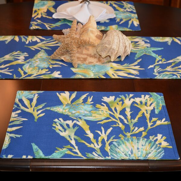Sweet Pea Linens - Blue Seashell & Tropical Leaf Outdoor Fabric Rectangle Placemats - Set of Two (SKU#: RS2-1002-A13) - Table Setting