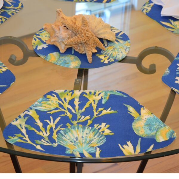 Sweet Pea Linens - Blue Seashell & Tropical Leaf Outdoor Fabric Wedge-Shaped Placemats - Set of Two (SKU#: RS2-1006-A13) - Table Setting