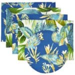 Sweet Pea Linens - Blue Seashell & Tropical Leaf Outdoor Fabric Rectangle Placemats - Set of Four plus Center Round-Charger (SKU#: RS5-1002-A13) - Product Image