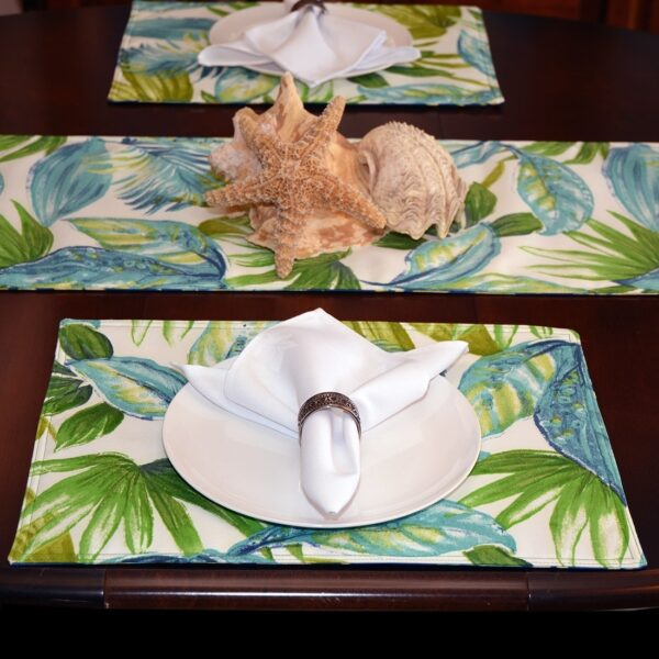 Sweet Pea Linens - Blue Seashell & Tropical Leaf Outdoor Fabric Rectangle Placemats - Set of Four plus Center Round-Charger (SKU#: RS5-1002-A13) - Alternate Table Setting