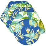 Sweet Pea Linens - Blue Seashell & Tropical Leaf Outdoor Fabric Wedge-Shaped Placemats - Set of Four plus Center Round-Charger (SKU#: RS5-1006-A13) - Product Image