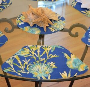 Sweet Pea Linens - Blue Seashell & Tropical Leaf Outdoor Fabric Wedge-Shaped Placemats - Set of Four plus Center Round-Charger (SKU#: RS5-1006-A13) - Table Setting