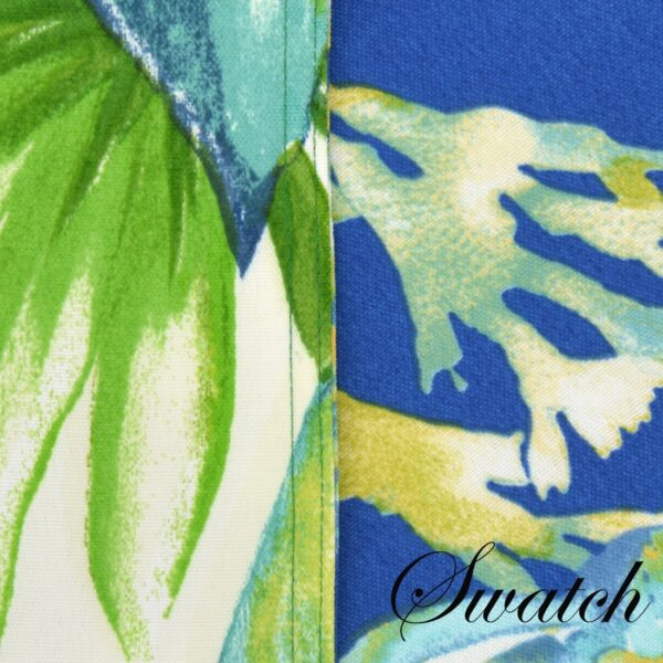 Sweet Pea Linens - Blue Seashell & Tropical Leaf Outdoor Fabric Wedge-Shaped Placemats - Set of Four plus Center Round-Charger (SKU#: RS5-1006-A13) - Swatch