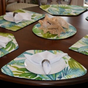 Blue Seashell & Tropical Leaf Outdoor Fabric Table Linen Collection