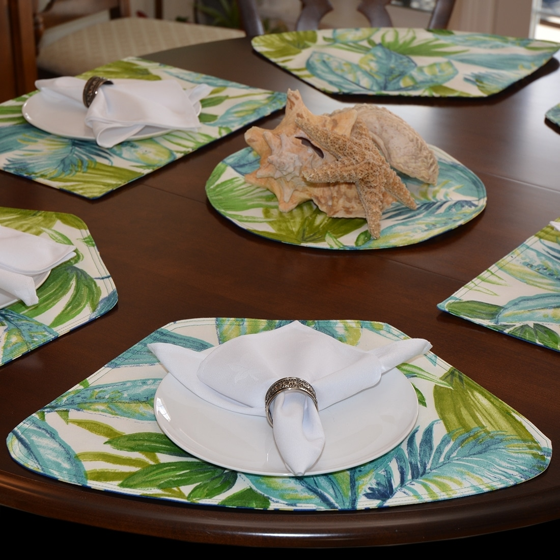 Sweet Pea Linens - Blue Seashell & Tropical Leaf Outdoor Fabric Wedge-Shaped Placemats - Set of Four plus Center Round-Charger (SKU#: RS5-1006-A13) - Alternate Table Setting