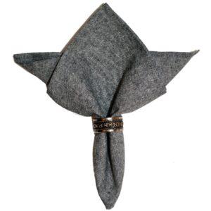 Sweet Pea Linens - Black Yarn Dyed Cloth Napkin (SKU#: R-1010-A14) - Product Image