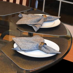 Sweet Pea Linens - Black Yarn Dyed Cloth Napkin (SKU#: R-1010-A14) - Table Setting