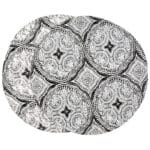 Sweet Pea Linens - Grey Medallion Outdoor Fabric Charger-Center Round Placemat (SKU#: R-1015-A14) - Product Image